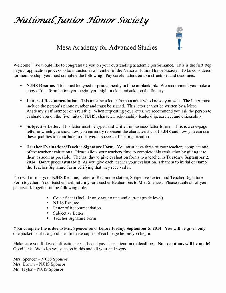 Recommendation Letter For Honor Society Best Of Sample Re Mendation Letter For National Ho National Junior Honor Society Letter Of Recommendation Honor Society