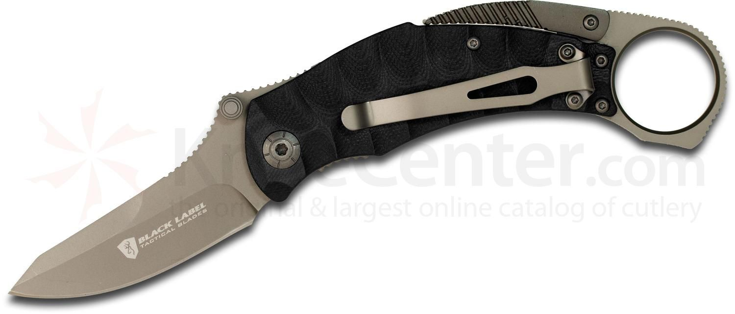 "Browning Black Label Vanquish Folding Knife 2.75"" Plain Blade, Black G10 Handles - KnifeCenter - 320176BL"