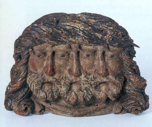 Dieu triface, Bois polychrome, 15 + 21 + 4cm, vers 1500, Lucerne, Historisches Museum, inv 1124. Extrait de Iconoclasme, donné en référence (Wirth) p 282.