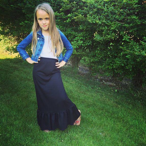 Black Maxi Skirt Maxi Skirt Knit Skirt Floor Length Toddler Maxi Skirt Floor Length Skir Girls Fashion Clothes Kids Outfits Girls Cute Modest Outfits