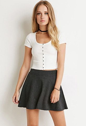 d621c7c8736c2 Button-Front Crop Top  8.90