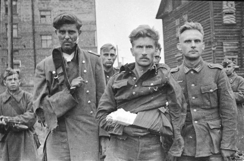 The time of reckoning has arrived: Wounded and dazed Germans surrender to the Russians somewhere in Poland, 1945.