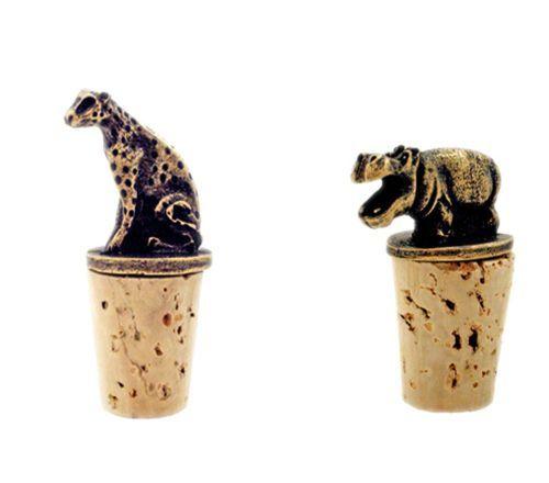 Brass Cheetah or Hippo Wine Bottle Stopper