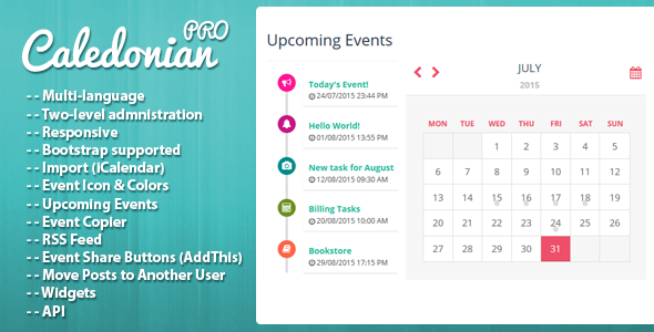 Download Free Caledonian Pro Php Event Calendar  Activity Api