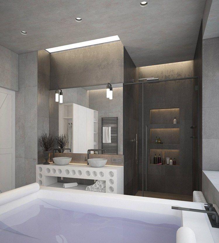décoration industrielle dans la salle de bain, meuble sous vasques