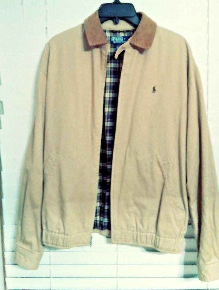 3c5806ef0e0d99 Ralph Lauren Polo Men s Jacket Khaki with corduroy collar plaid interior   RalphLauren  jacket