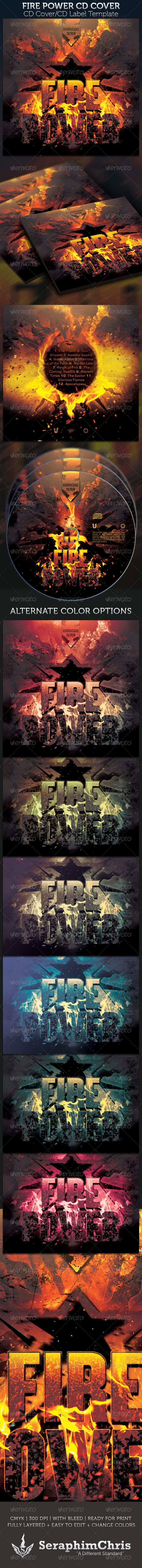 Fire Power CD Cover Template — Photoshop PSD #producer #mixtape • Available here → https://graphicriver.net/item/fire-power-cd-cover-template/2349132?ref=pxcr