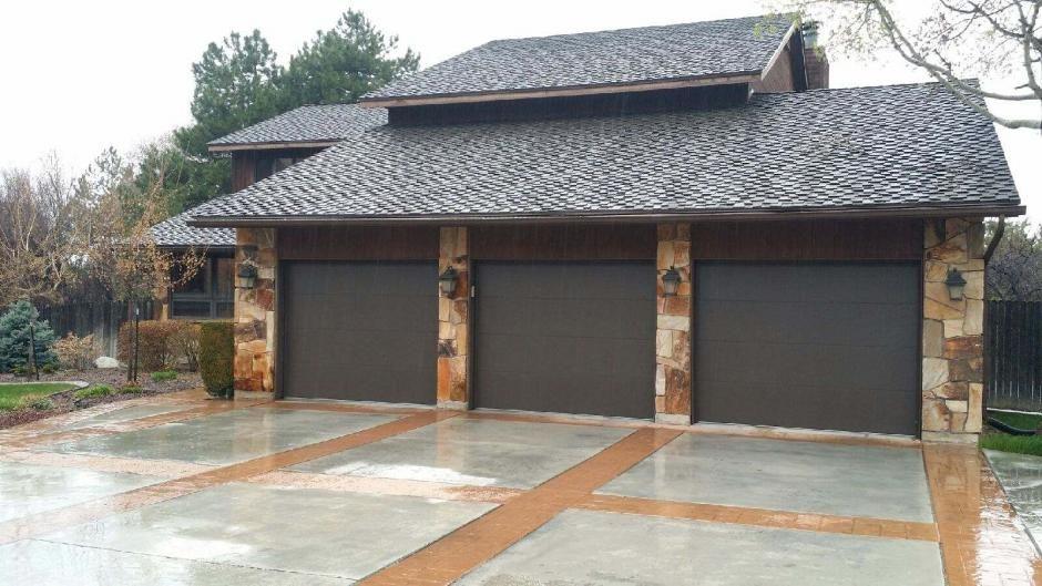 Flush Panel Door In Brown Garage Door Panels Overhead Garage Door Garage Doors