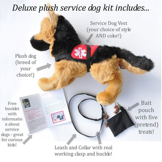Deluxe Plush Service Dog Set Stuffed Service By Henryandgenevieve