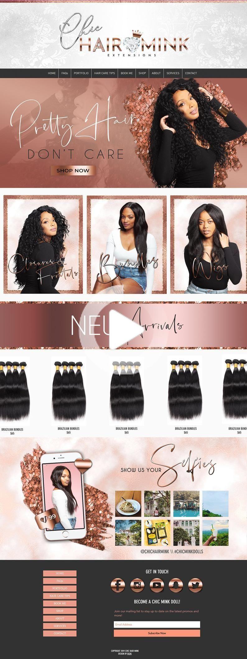 Rosegold Wix Hair Business Website Template, Rose Gold