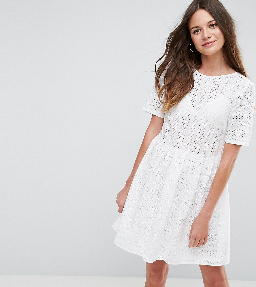 Asos Tall Smock Dress In Lace White Products Smock