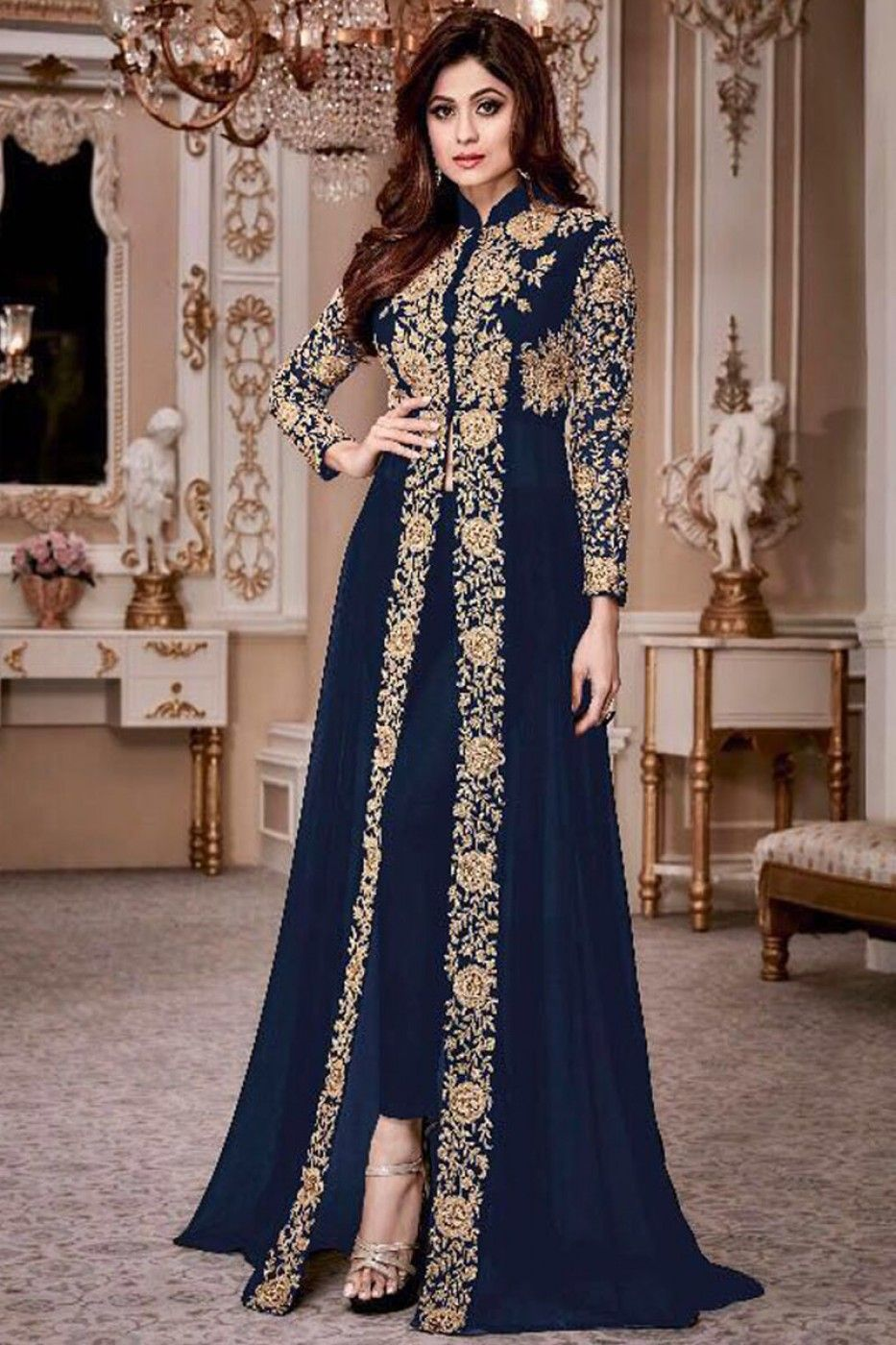 fe3f283801 Attractive Blue Color Georgette Heavy Gold Embroidered Traditional Partywear  Pant Style Salwar Suit