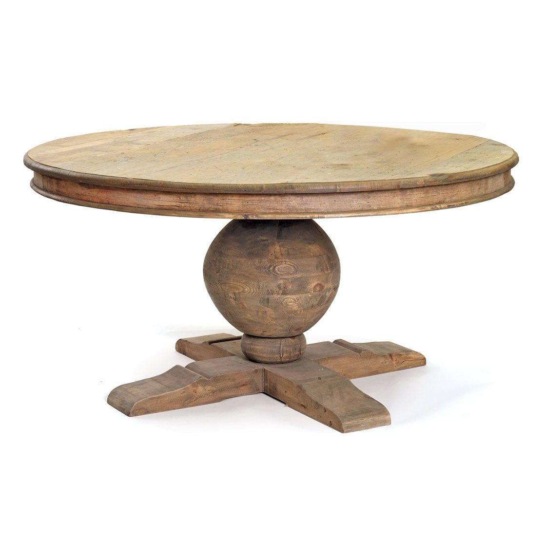 Antique Old And Vintage Round Outdoor Pedestal Dining Table For