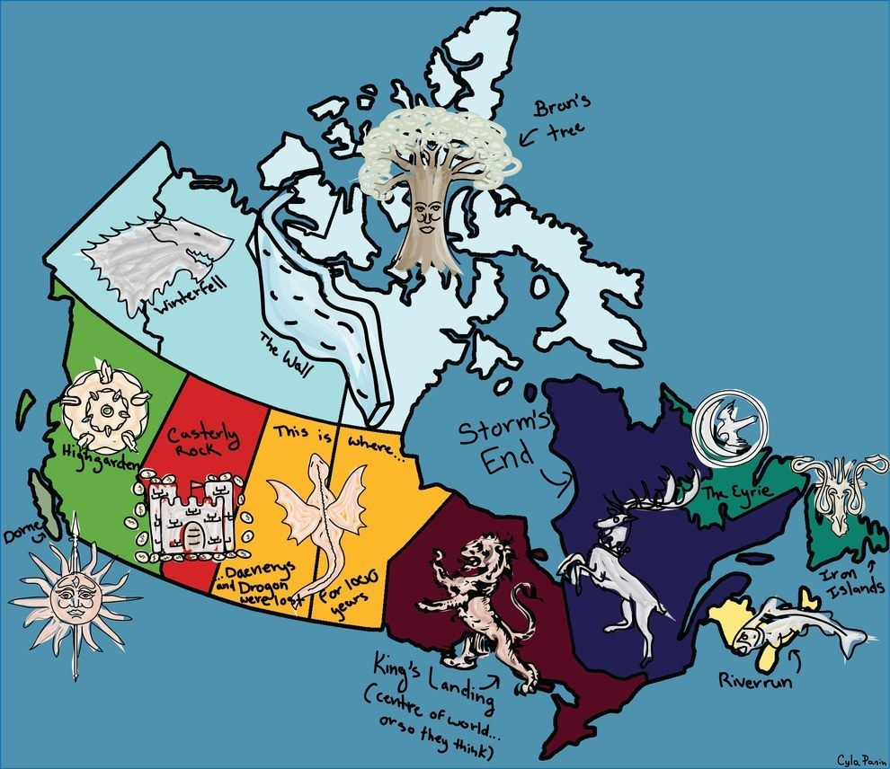Here S A Map Of Canada If It Were Westeros Game Of Thrones