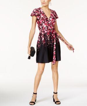 f544054170c87 INC Petite Printed Wrap Dress, Created for Macy's - Black P/XL ...