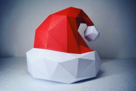 santa claus hat papercraft model diy template 3d. Black Bedroom Furniture Sets. Home Design Ideas
