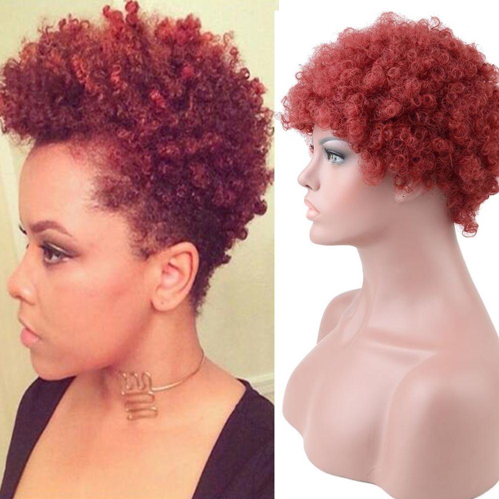 Short Razeal Red Afro Wig Short human hair wigs, Wig