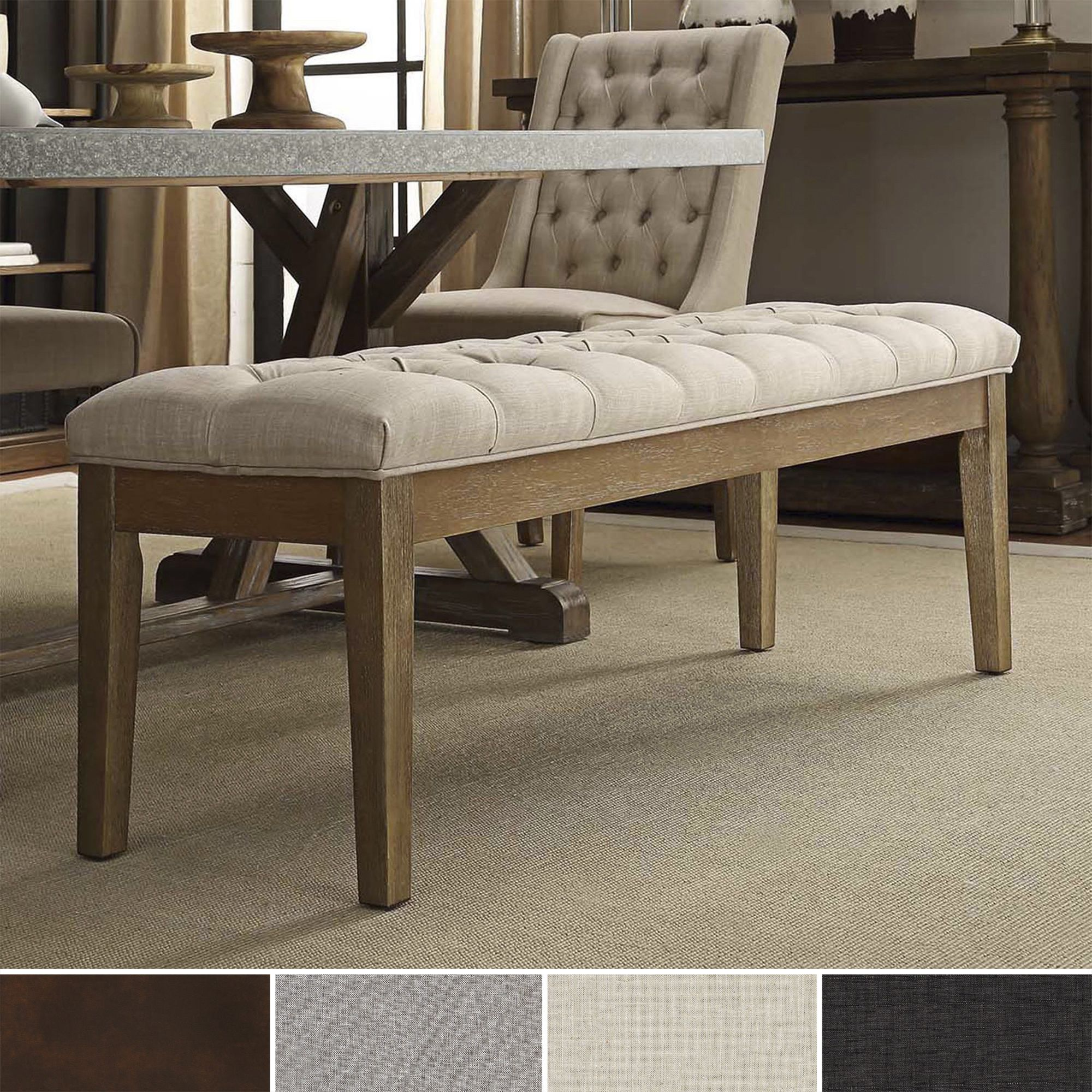 Benchwright Premium Tufted Reclaimed 52inch Upholstered