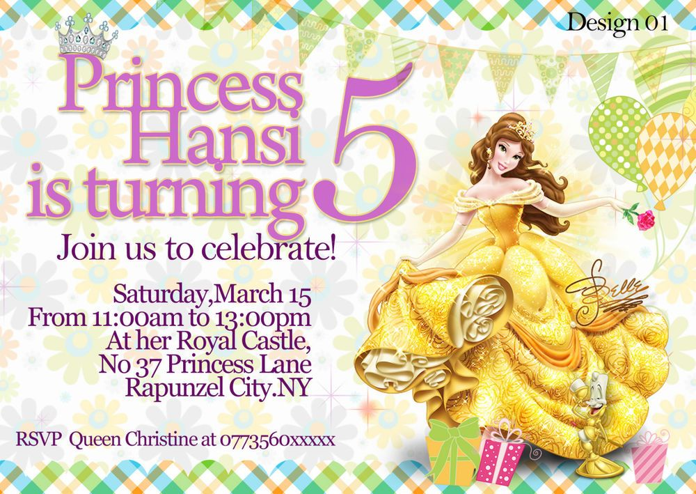 Personalised Birthday Party Invitations Disney Princess Belle x8 ...