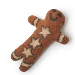 Gingerbread Man Boiled Wool Dog Toy Designer Dog Collars Dog