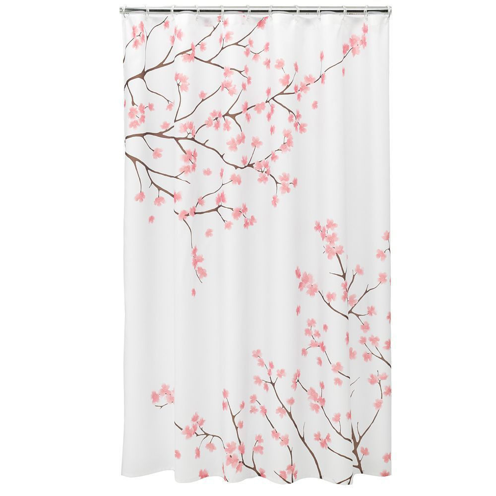 Home Classics Cherry Blossom Fabric Shower Curtain With Images Pink Shower Curtains Gray Shower Curtains Brown Shower Curtain