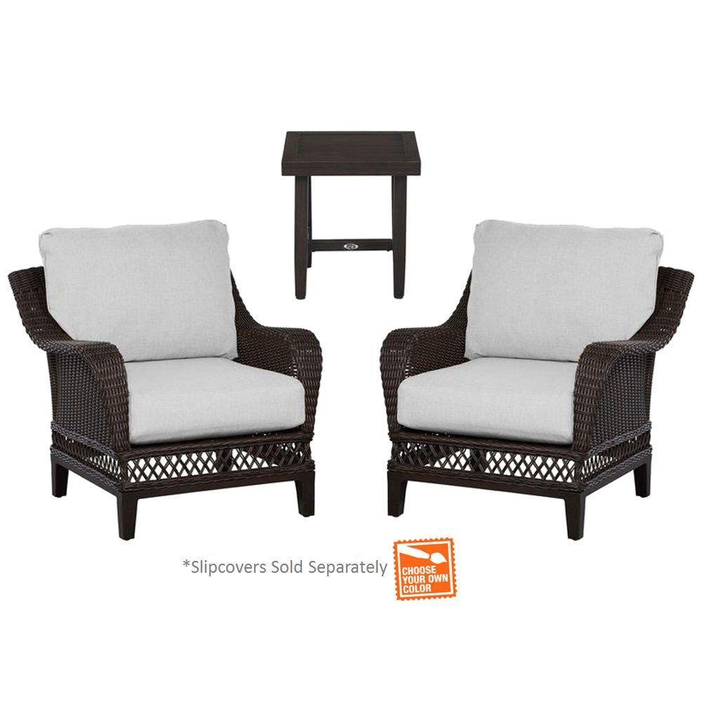 Hampton Bay Woodbury 3 Piece Patio Chat Set With Cushion Insert Slipcovers Sold Separately Dy9127 3 Patio Seating Sets Patio Seating Outdoor Lounge Furniture