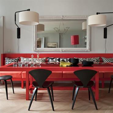 Salle à Manger Rouge Et Noir Avec Banquette