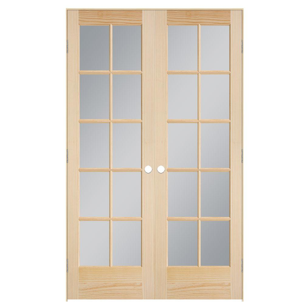Masonite 48 In X 80 In Smooth 10 Lite Unfinished Pine Prehung Interior French Door 71635 The Home Depot French Doors Interior Prehung Interior French Doors Pine Interior Doors