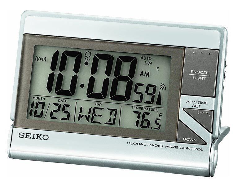 Seiko Qhr016slh Global R Wave Travel Alarm Metallic Case Clock