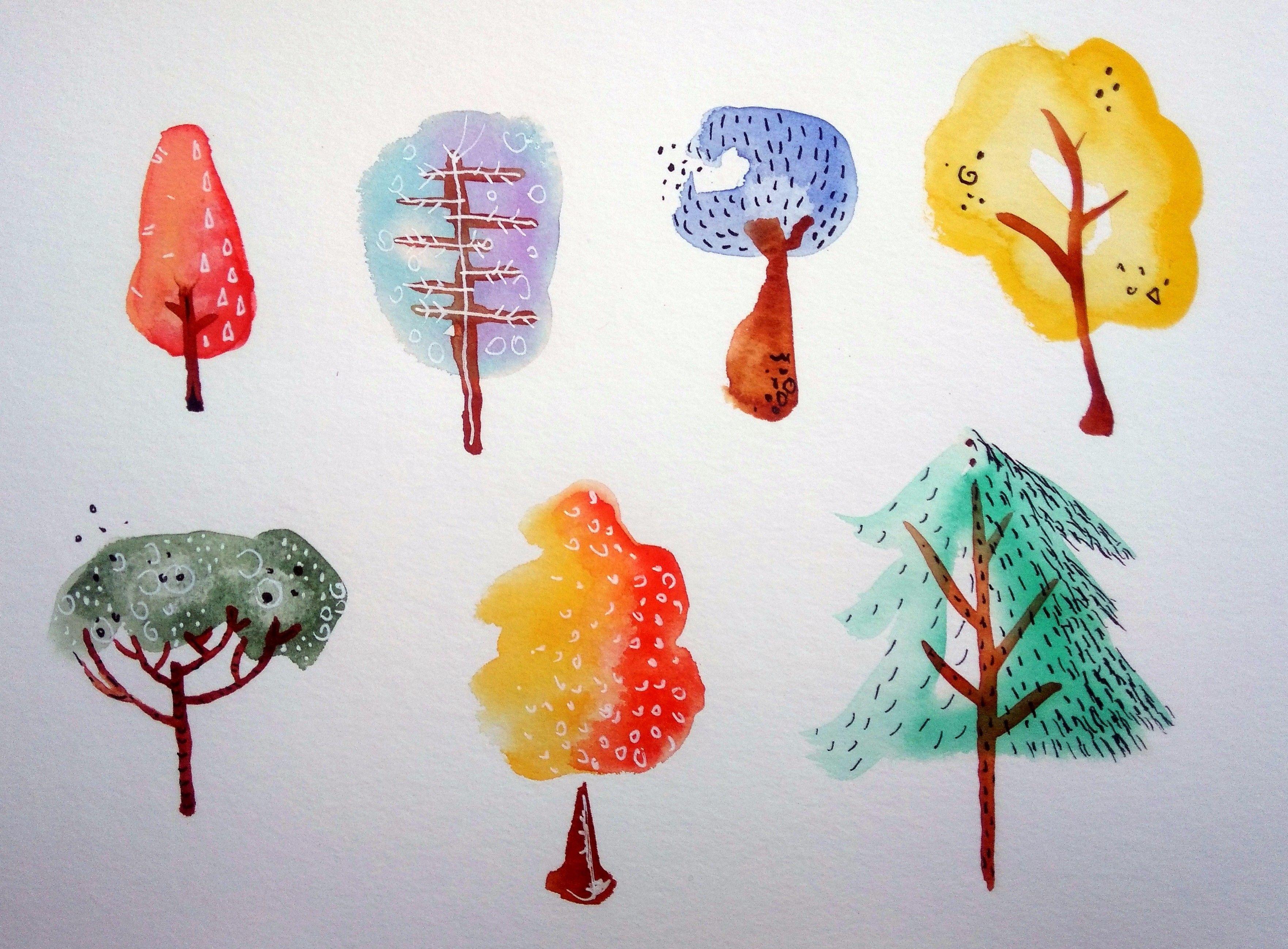 Bäume malen Tutorial: Schnell, einfach, fröhlich ...