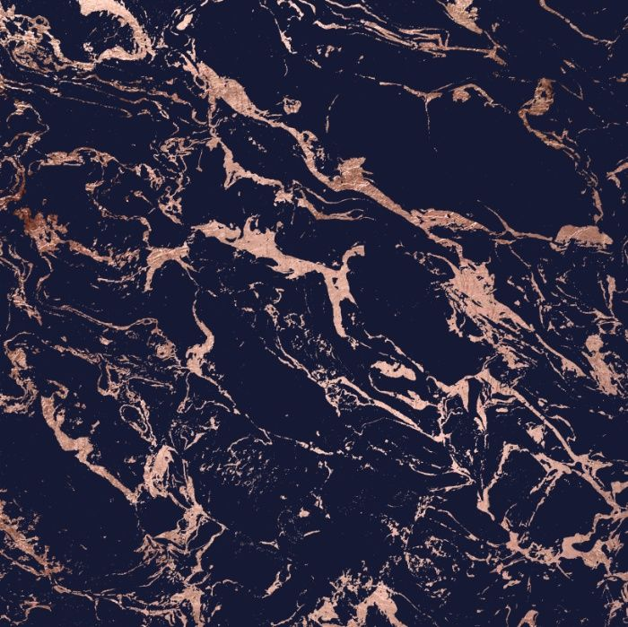 Modern Chic Elegant Rose Gold Navy Blue Marble Pattern By Girly