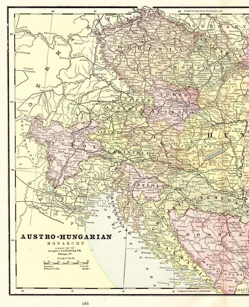 1892 Antique Austria Hungary Map Vintage Collectible Atlas Map