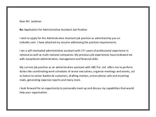 administrative assistant cover letter sample 4th pinterest
