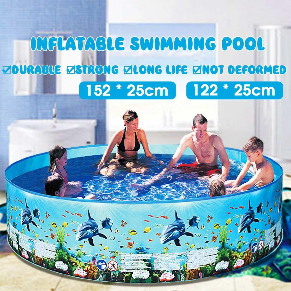 122 152cm Kids Inflatable Pool Round Swimming Pool Inflatable Family Home Use Paddling Pool In 2021 Bath Swimming Pool Children Swimming Pool Inflatable Swimming Pool