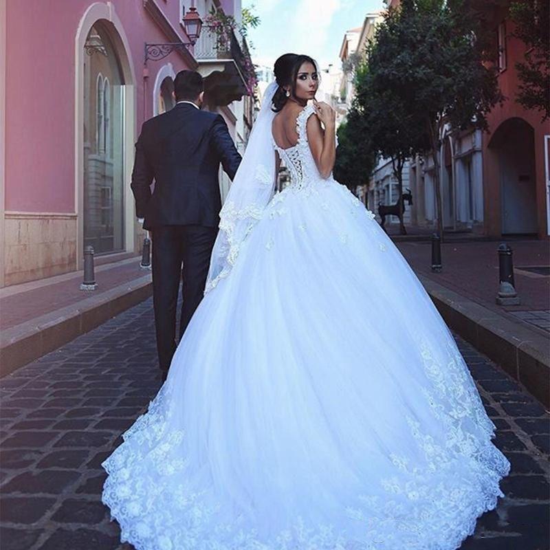 Princess Wedding Dress Ball Gowns Double Shoulder Appliqued Lace V