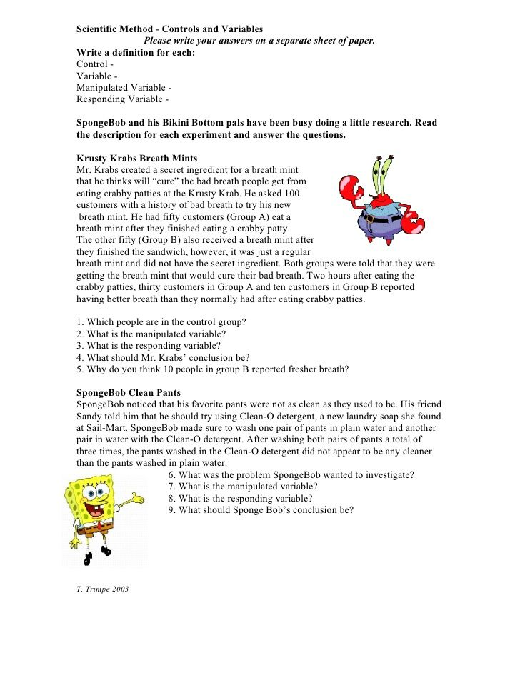 Scientific Method Controls and Variables Please write your – Simpsons Scientific Method Worksheet