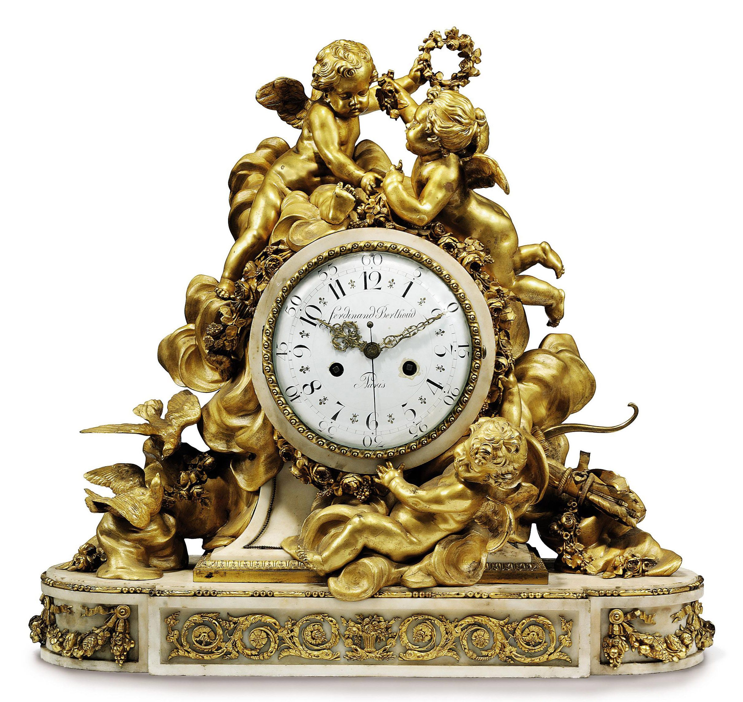 C1860 A French Large White Marble And Ormolu Striking Mantel Clock The Case By Jean Beurdeley Paris Th Antique Pendulum Wall Clock Clock Antique Wall Clocks