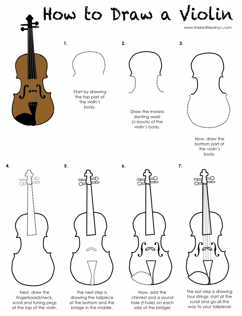 printable activity for kids-how to draw a violin (the bird feed nyc