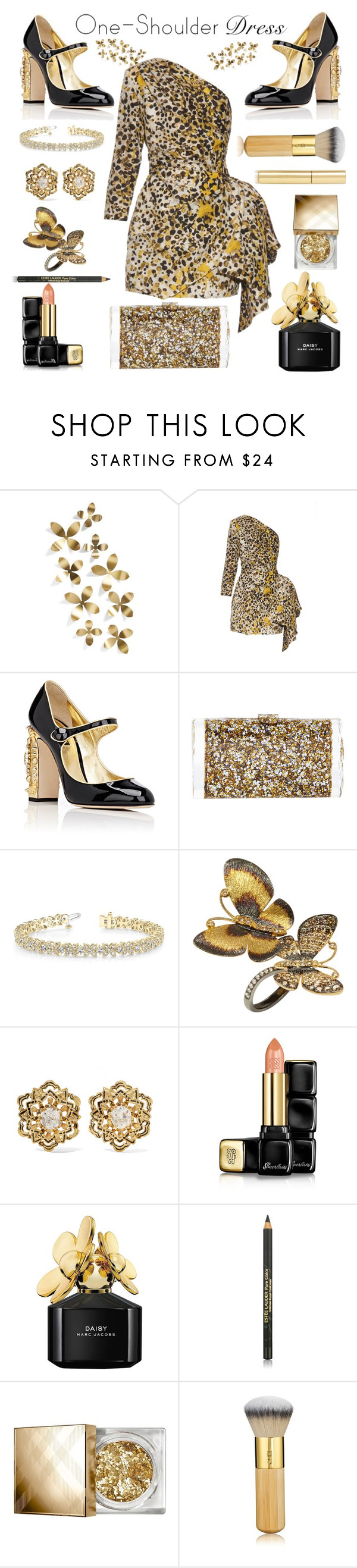 """One-shoulder"" by sneky ❤ liked on Polyvore featuring Umbra, Roberto Cavalli, Dolce&Gabbana, Edie Parker, Allurez, Annoushka, Fred Leighton, Guerlain, Marc Jacobs and Estée Lauder"