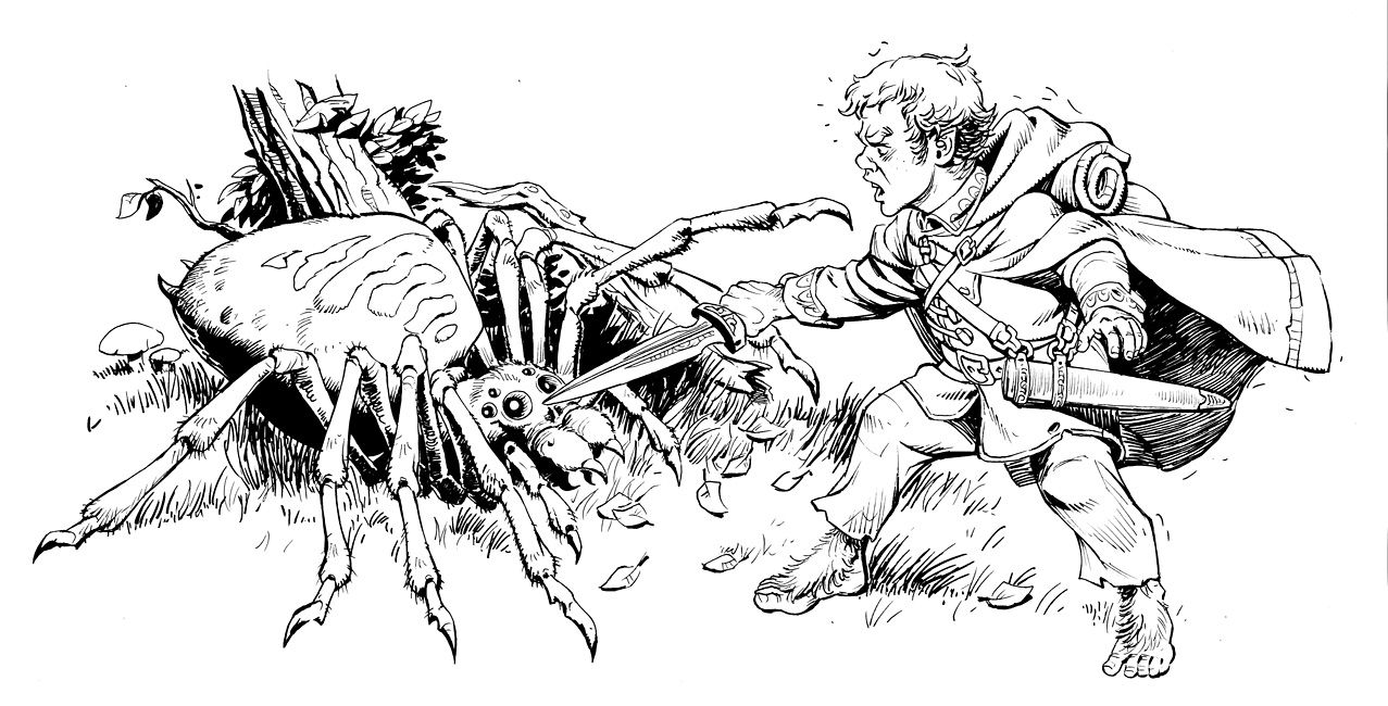 Bilbo Baggins Vs Spider By Lipatov On Deviantart Animal Drawings Bilbo Baggins Spider