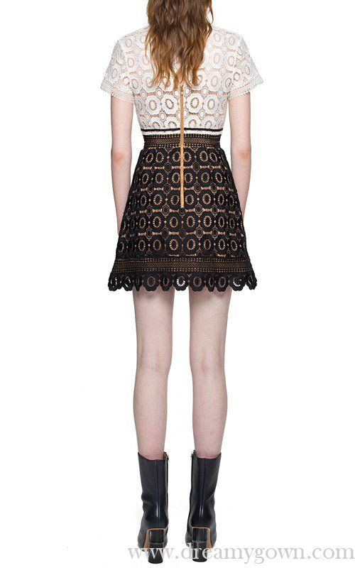 64fe00f7dcb6 A-line Black White Self Portrait Felicia Lace Mix Dress | Self ...