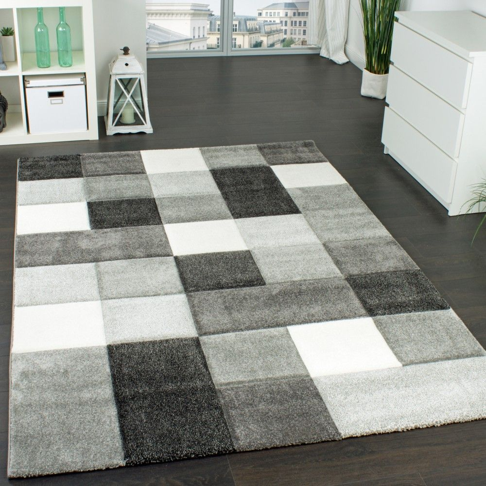 Designer Teppich Modern mit Konturenschnitt Karo Muster Marmor Optik Grau Weiß