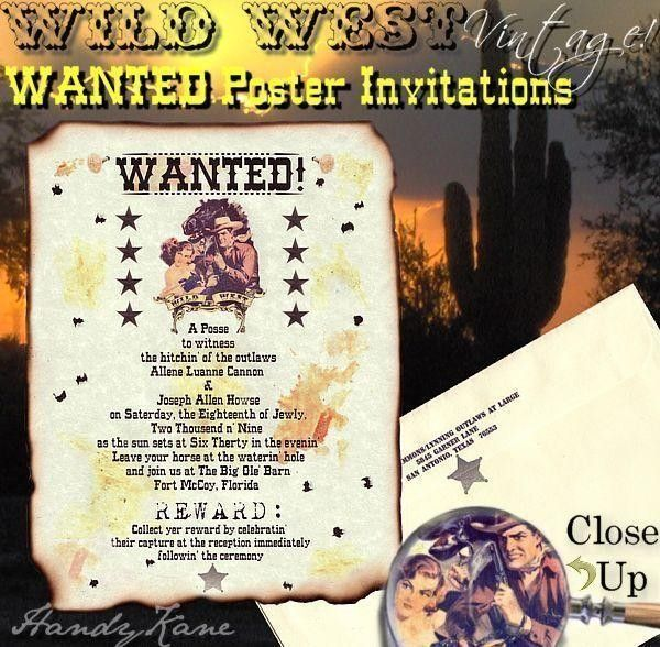 qty 50 Western Wanted poster Wedding Invites country Invitations - best of invitation kick off meeting