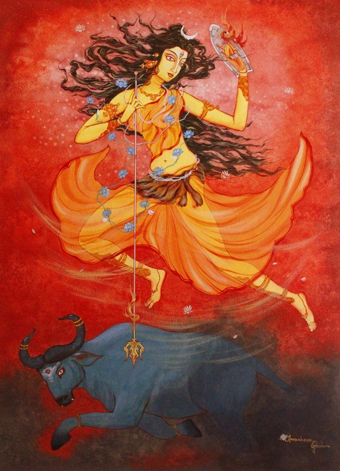 Durga By Tanushree Gosh With Images Vedic Art Hindu Art