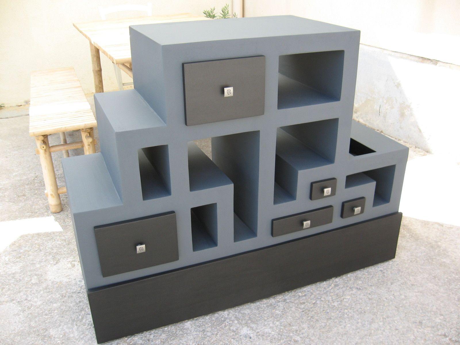 1ere Partie Du Meuble Tele En Carton Termine Meubles En Carton Marie Krtonne Cardboard Furniture Cardboard Design Paper Furniture