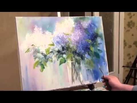 Comment peindre de fleurs. Peindre un bouquet de lilas. Didacticiel vidéo complet..Sakharov - Y ...