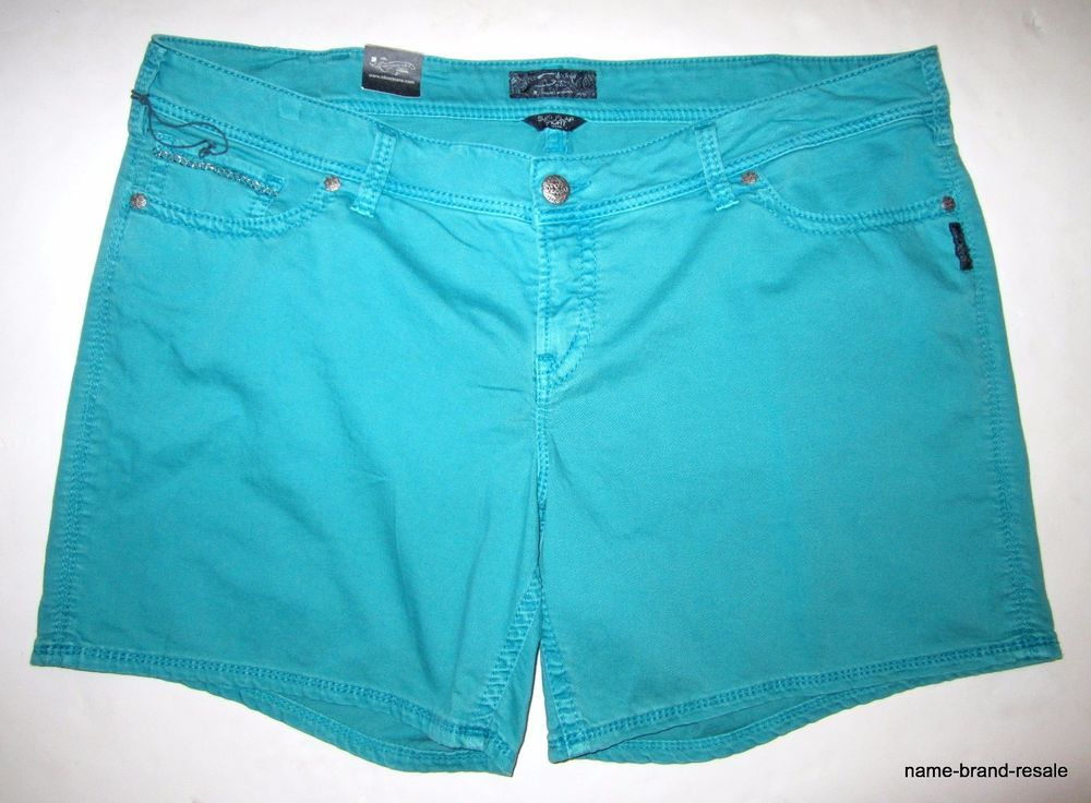 12769d3cee4ed SILVER JEANS NWT Womens PLUS Size 24 Aqua Denim SHORTS Chain Buttoned  Pockets  SilverJeans  Denim