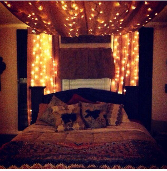 Romantisches himmelbett mit lichterkette  Pin von Sherrise Taylor auf Room | Pinterest | Romantik