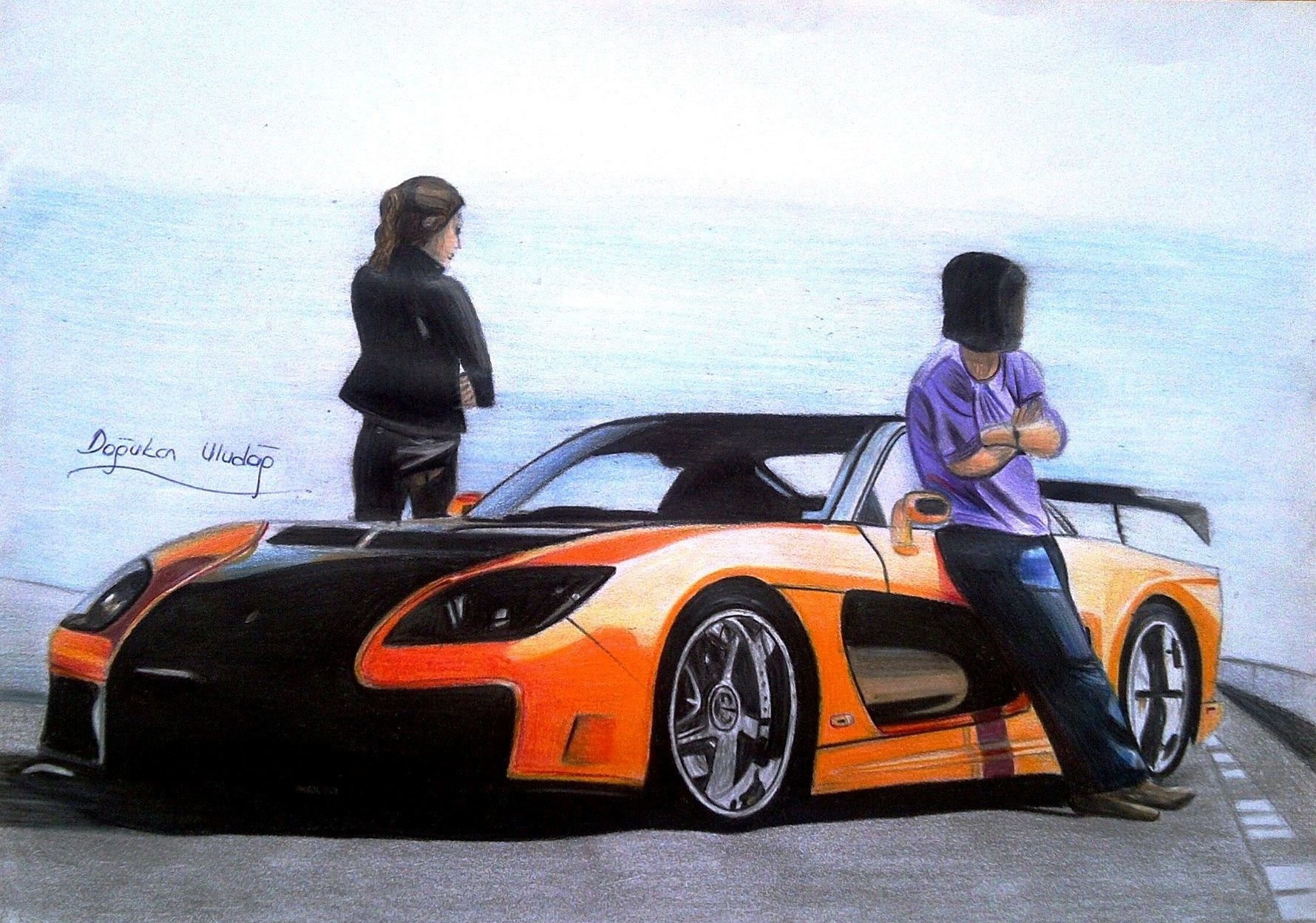 tokyo drift rx7 veilside with han gisele drawing from 2013