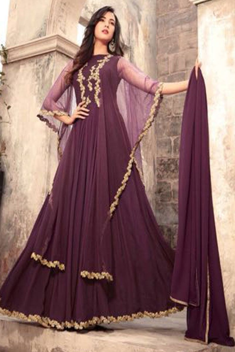 87a50987c3 Purple Color Wedding Wear Georgette Fabric Gorgeous Embroidered Party wear  Indian Women Style Bollywood Fashion Sonal Chauhan Fancy Gown Style Suit ...